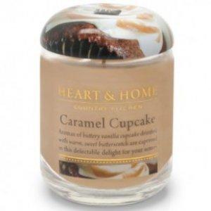 Candela di Soia al Profumata Cupcake al Caramello Barattolo Piccolo Heart & Home